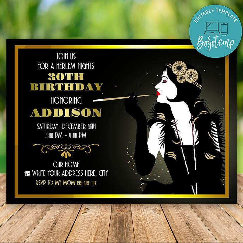 Black Printable Birthday Party Invitation 30th 40th 50th 60th 70th 80th 90th Harlem Nights Invitation Red GG20 Printable DIY White