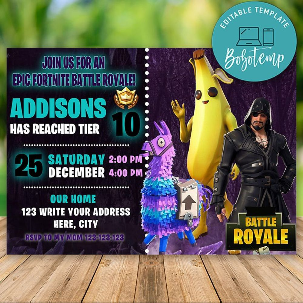 editable fortnite season banana birthday invitation