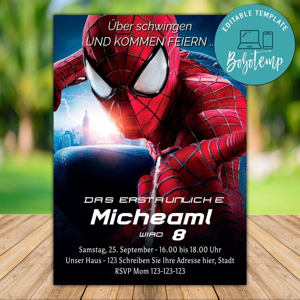 druckbare spiderman superhero geburtstagseinladung