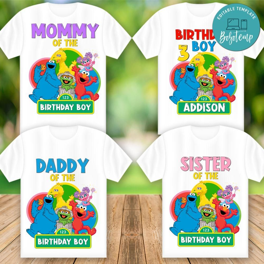 Printable Sesame Street Birthday Shirt For Family ...
