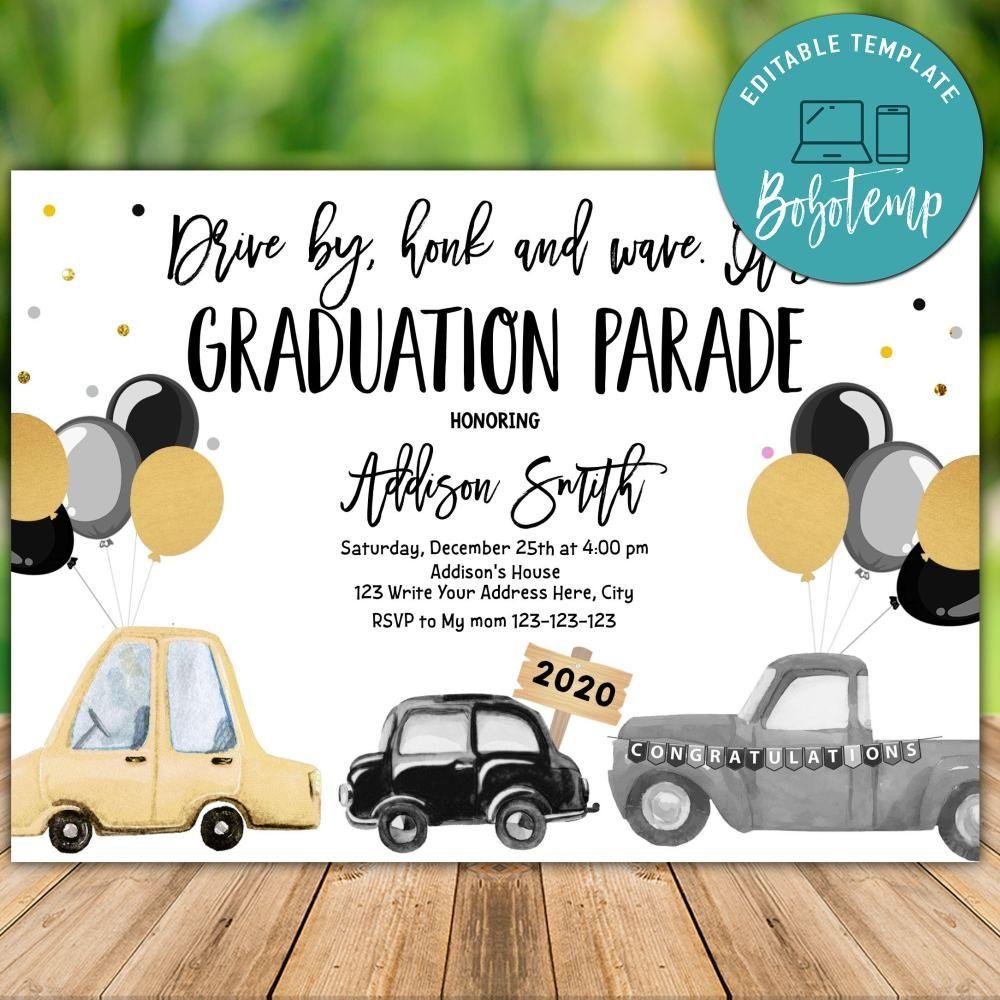 Drive By Graduation Parade Invitation And Free Thank You Tag Bobotemp