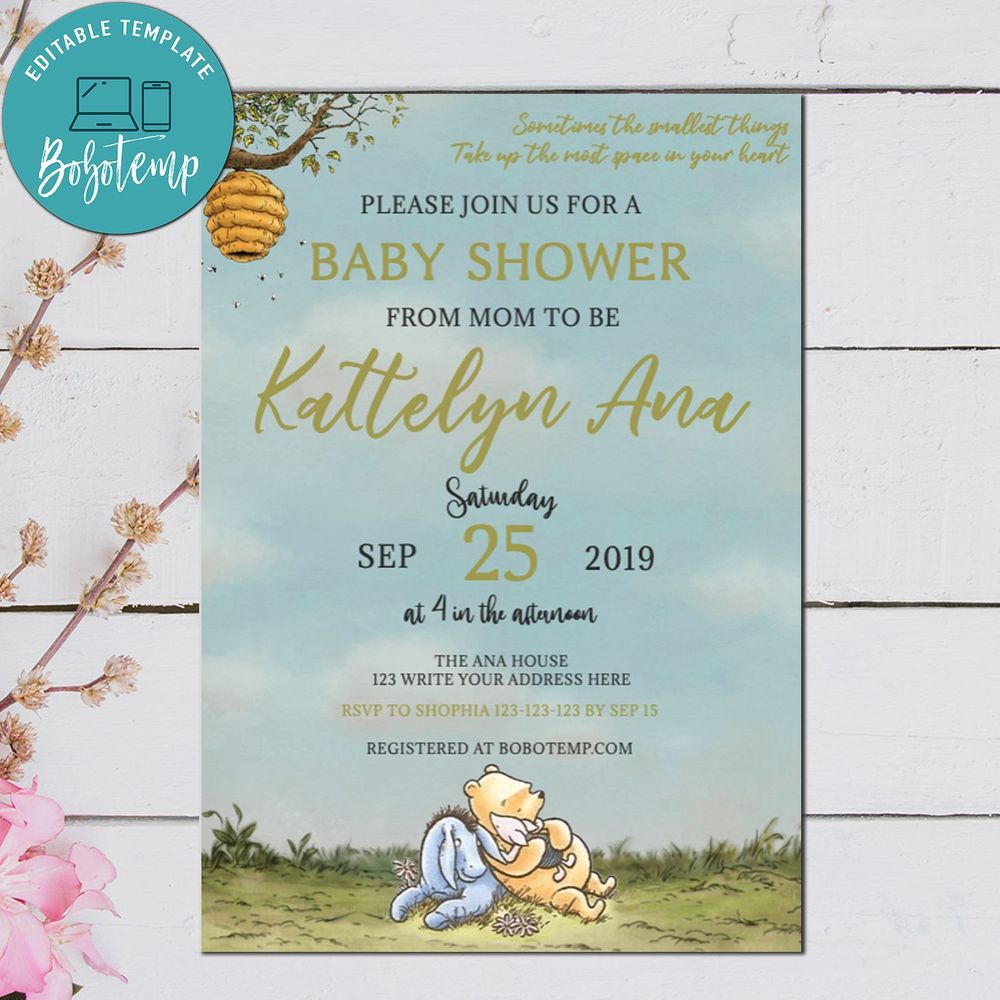 Winnie The Pooh Wedding Reading: Editable Winnie The Pooh Baby Shower Bundle Digital File