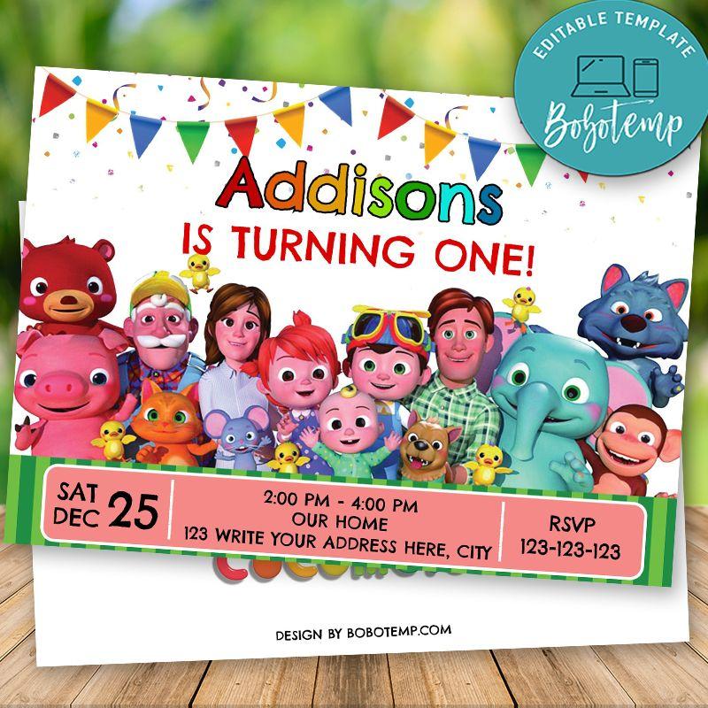 editable cocomelon birthday invitation instant download