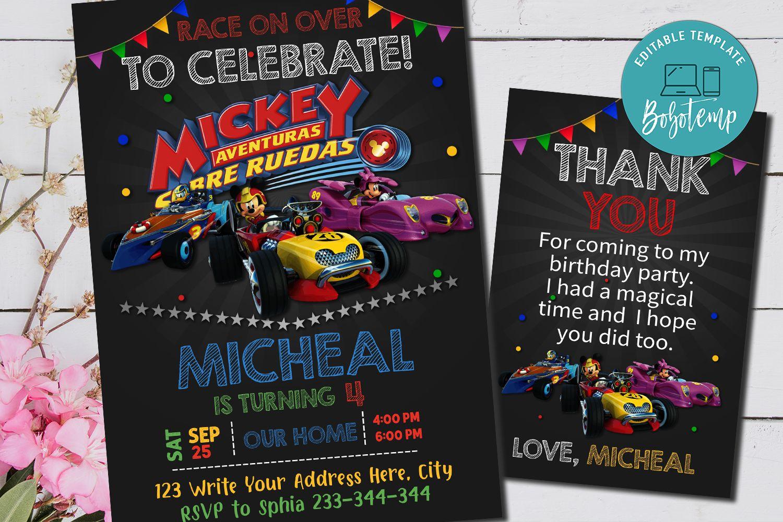 Editable Mickey The Roadster Racers Birthday Invitations Diy Bobotemp