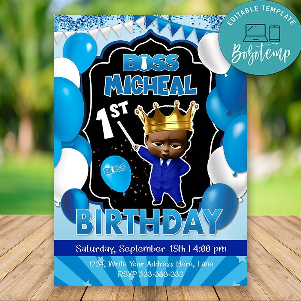 The King Boss African American Baby Invitation