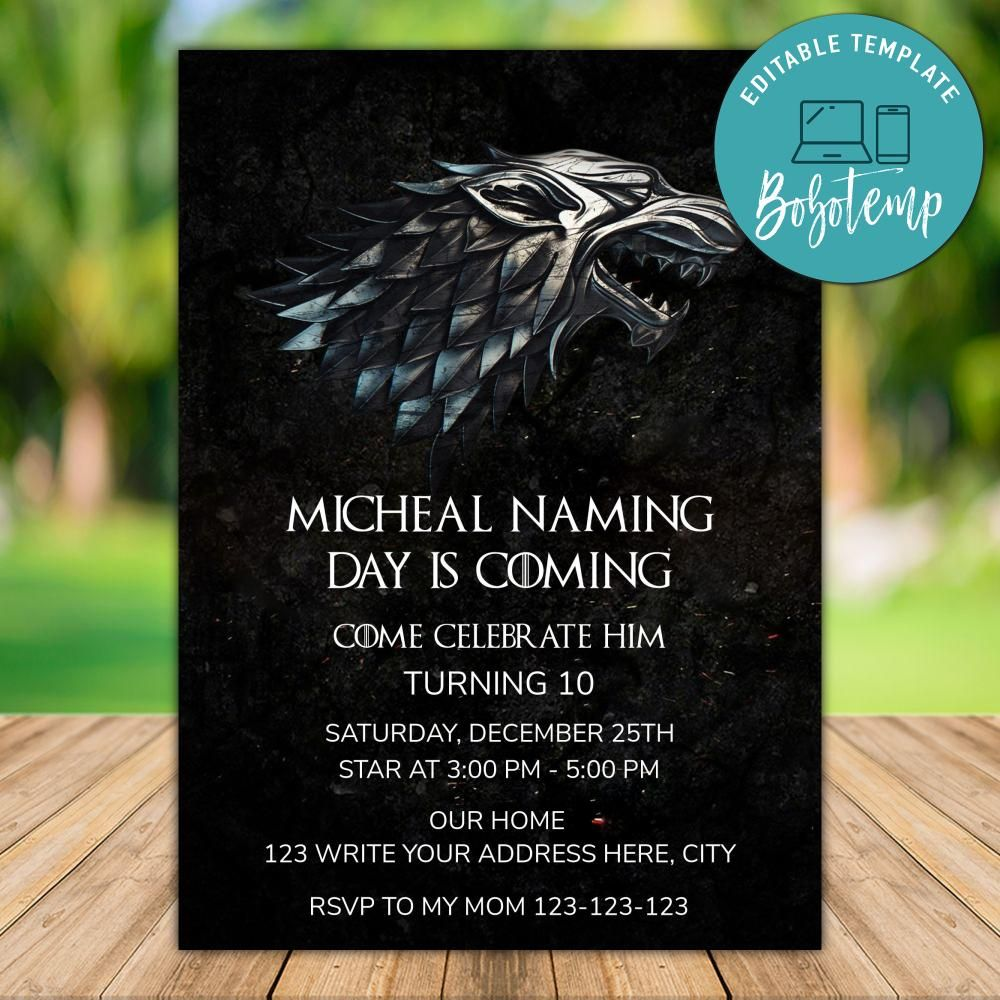 Editable Game Of Thrones Birthday Invitation Instant Download