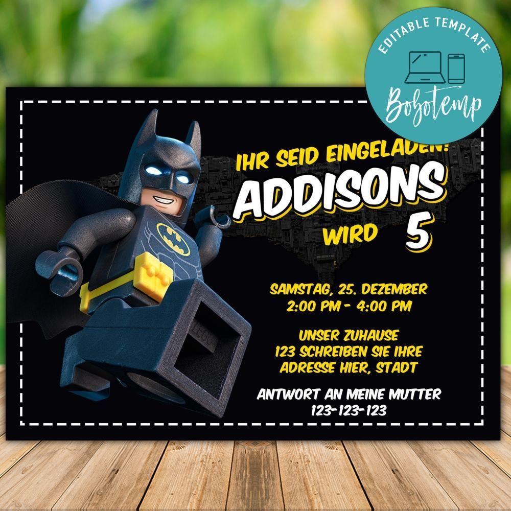 bearbeitbare lego batman party einladung sofortiger