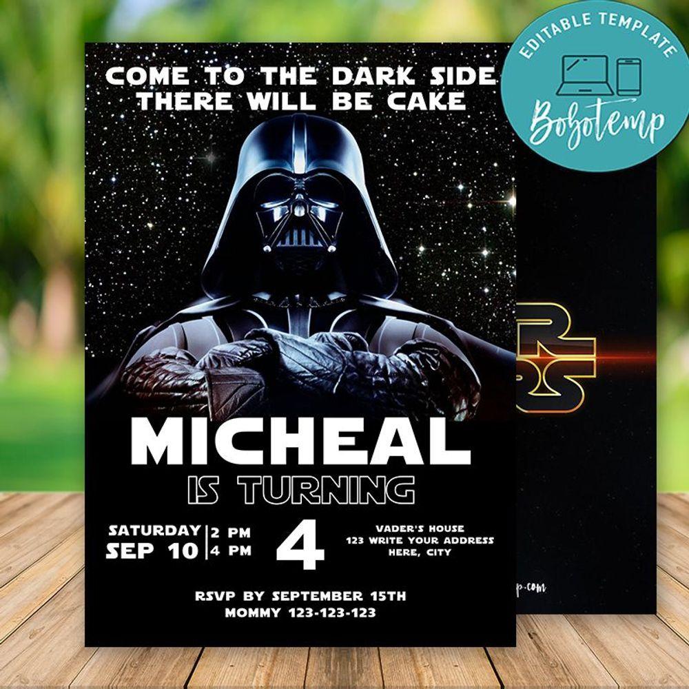 Custom Star War Darth Vader Party Birthday Invitation