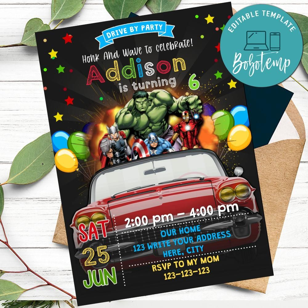 superhero avengers drivebirthday parade invitation diy