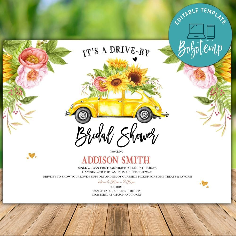 printable blue floral drive by bridal shower parade