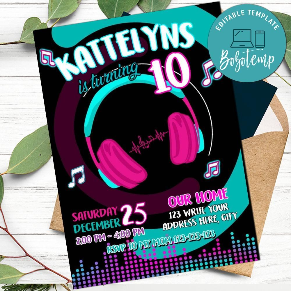 TikTok Themed Birthday Invitation Templates Printable DIY  Bobotemp