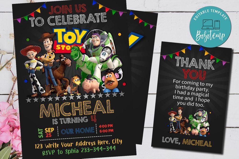 Toy Story Birthday Party Invitation - Buzz Lightyear ToyPixar Disney Printable
