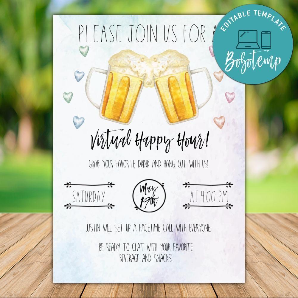 printable virtual happy hour invitation template instant