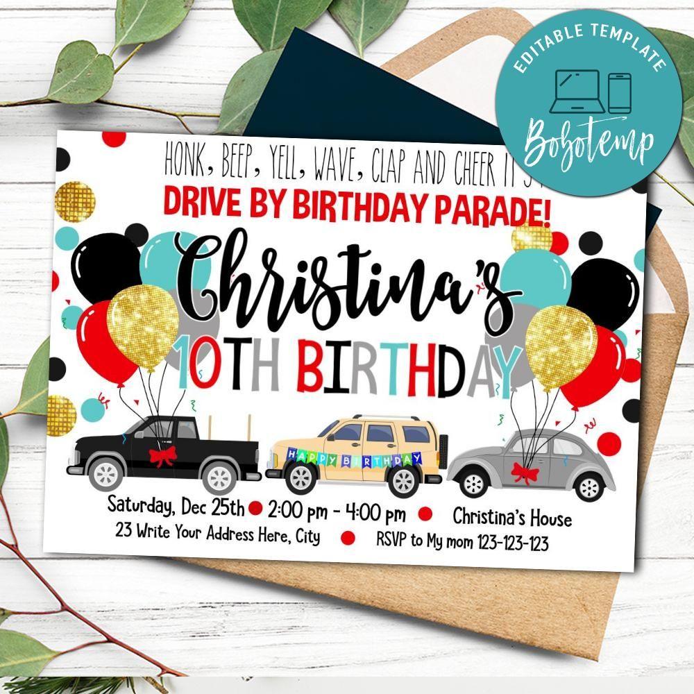 Printable Drive By Birthday Parade Invite Template Diy Bobotemp
