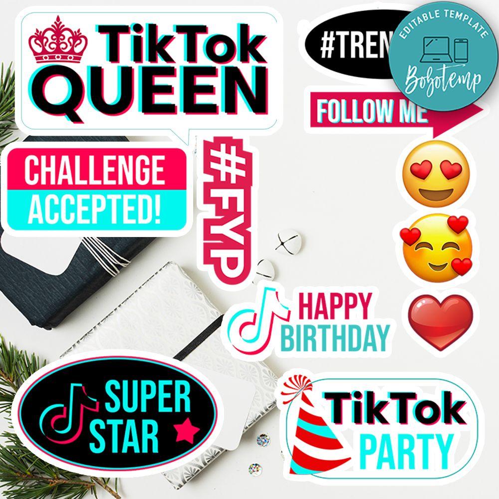 Printable Tik Tok Birthday Cake Topper Instant Download Bobotemp