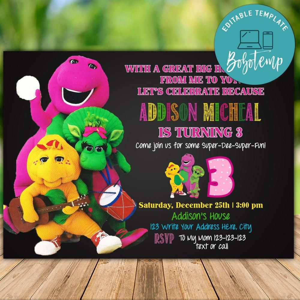 Printable Barney Birthday Invitation Instant Download Bobotemp