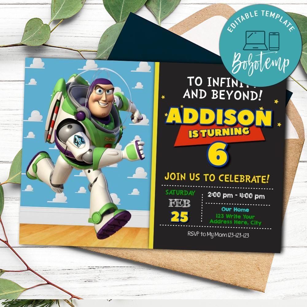 Toy Story Buzz Lightyear Birthday Invitation Printable Diy Bobotemp