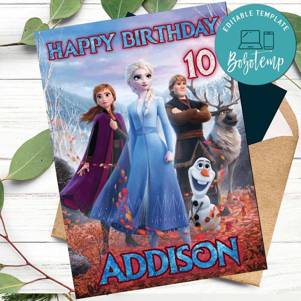 frozen 2 movie birthday card for your daughters to print