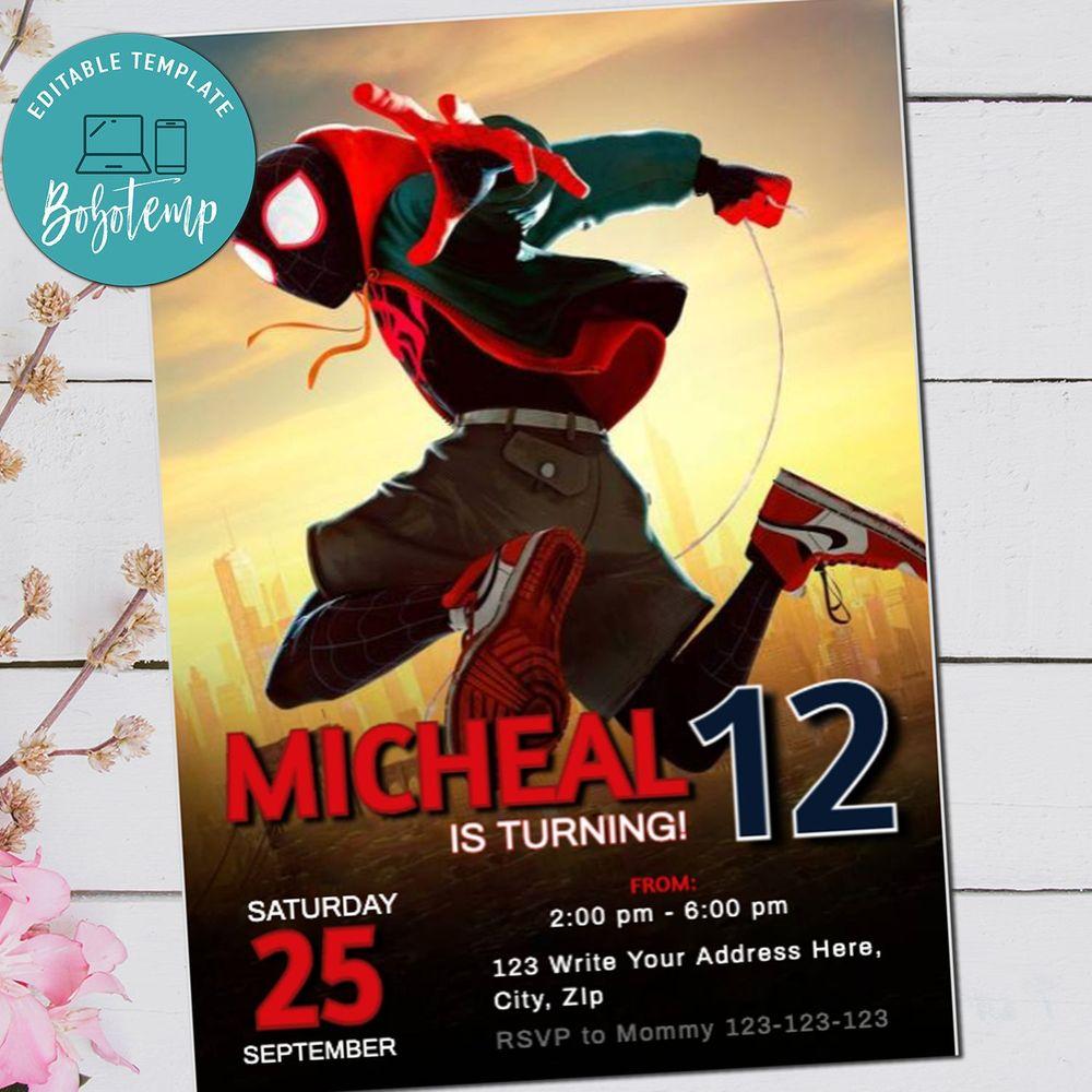 spiderman birthday invitation into the spiderverse invite
