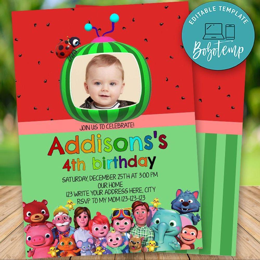 editable cocomelon birthday invitations with photo diy