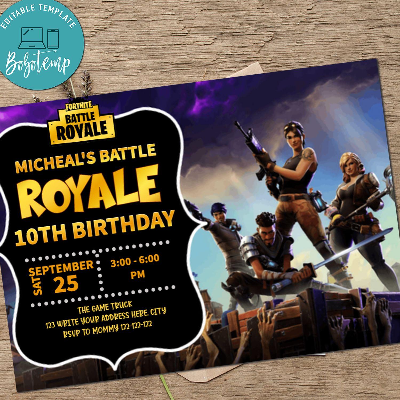 Fortnite Birthday Party Invitation Printable Bobotemp