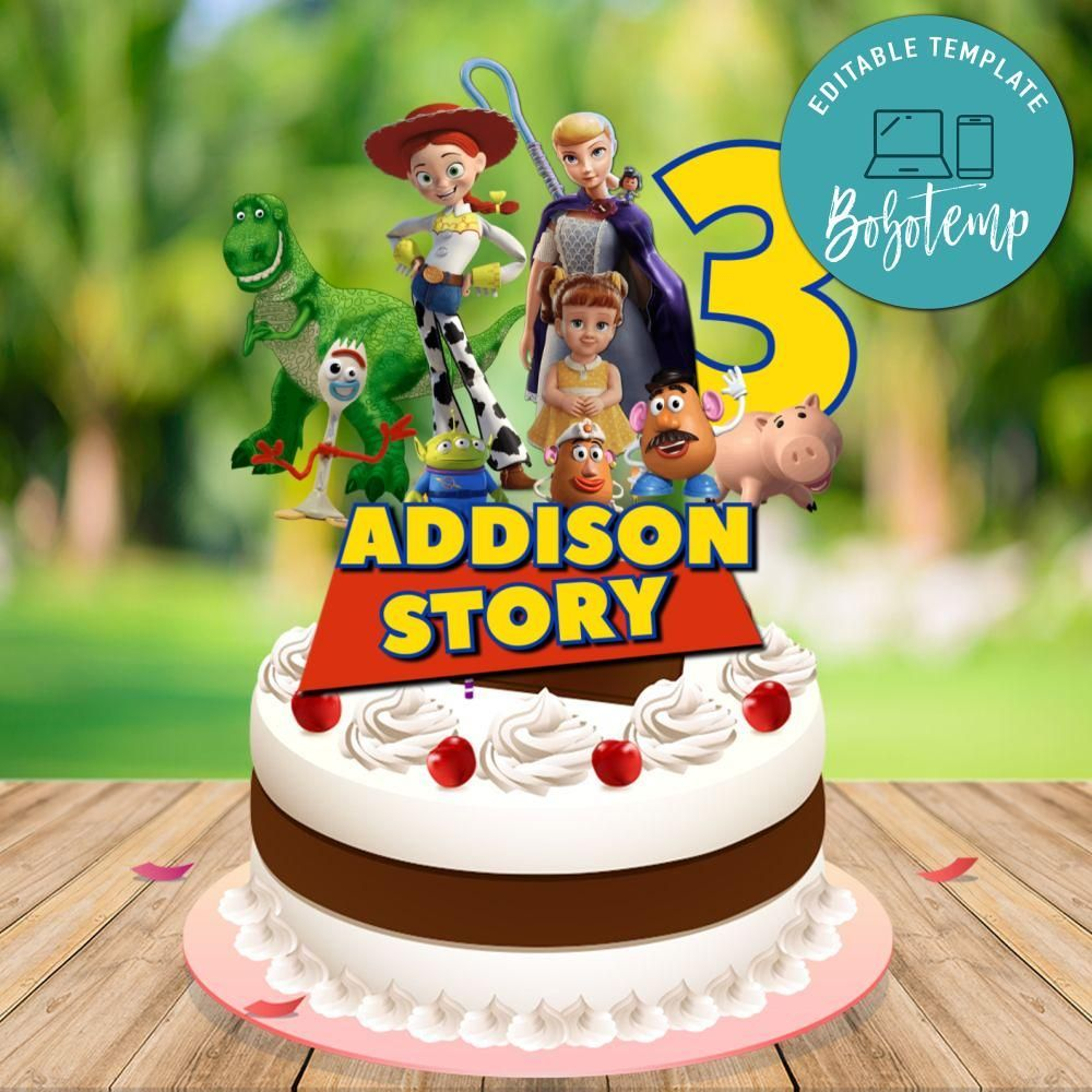 printable girl toy story 4 birthday cake topper template diy