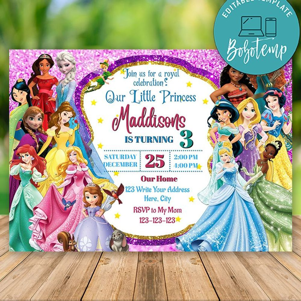 Editable Disney Princess Birthday Invitation Print at Home