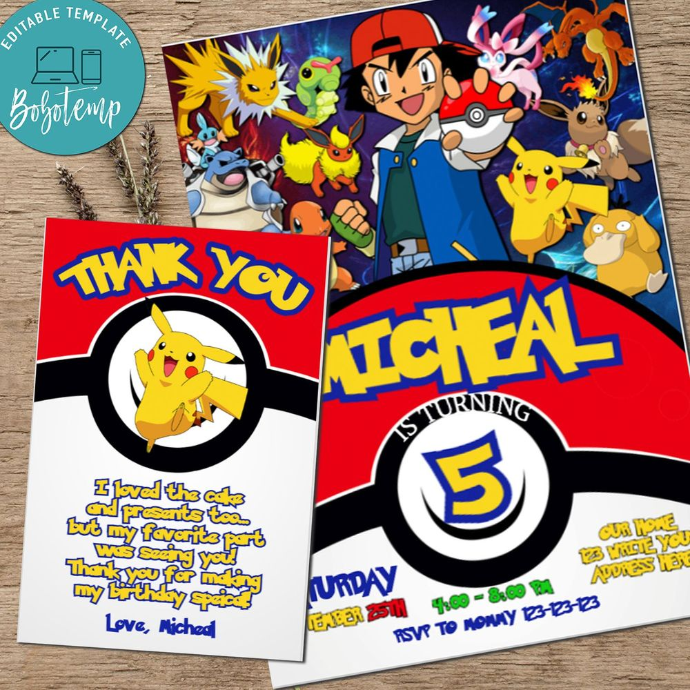 Pokemon GO Pikachu Birthday Invitation Printable