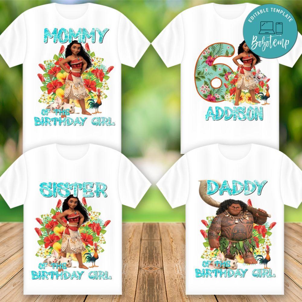 Moana Shirt Custom Tshirt Birthday Girl Birthday Tshirts Moana Birthday Shirt