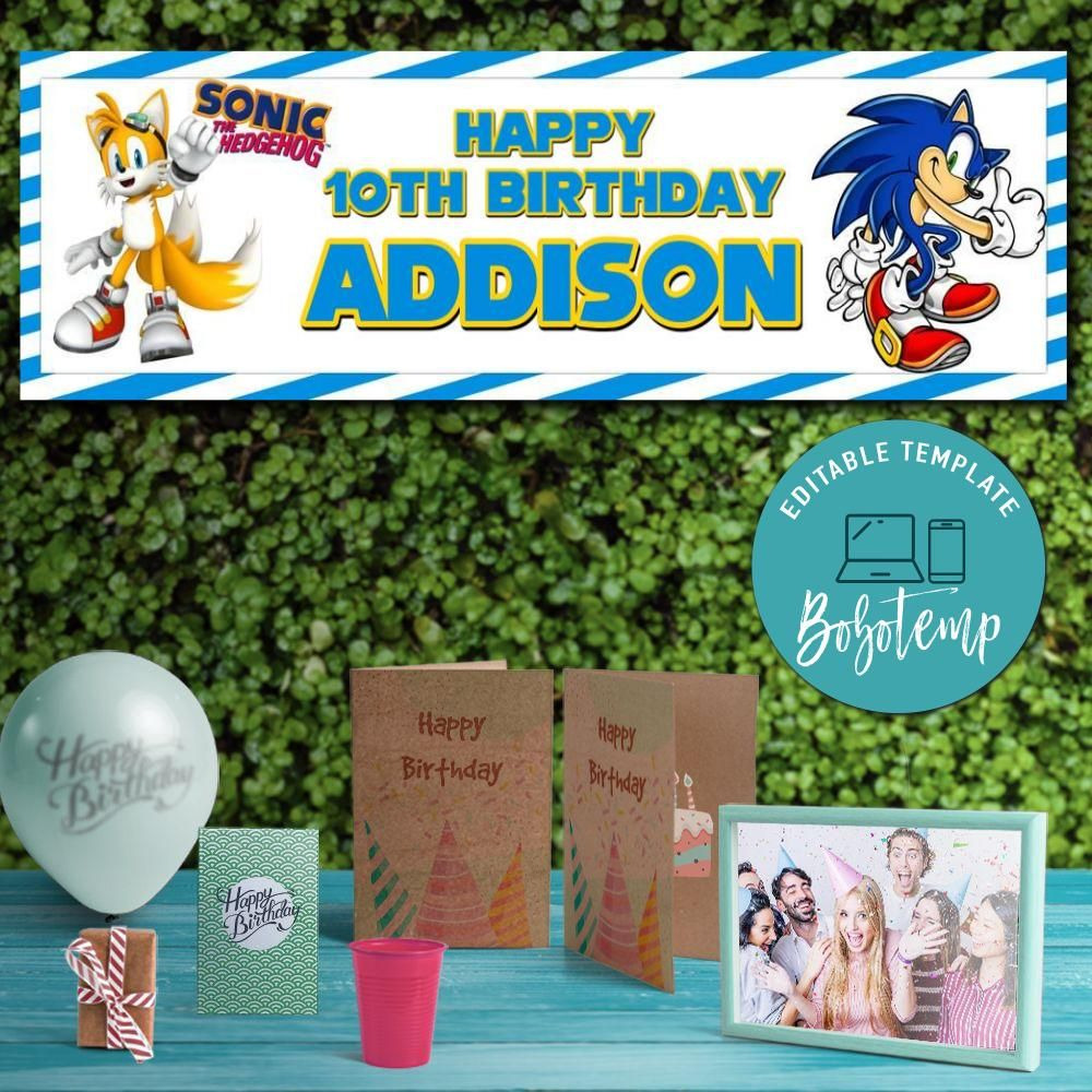 Sonic The Hedgehog Birthday Banner Printable Instant Download Bobotemp