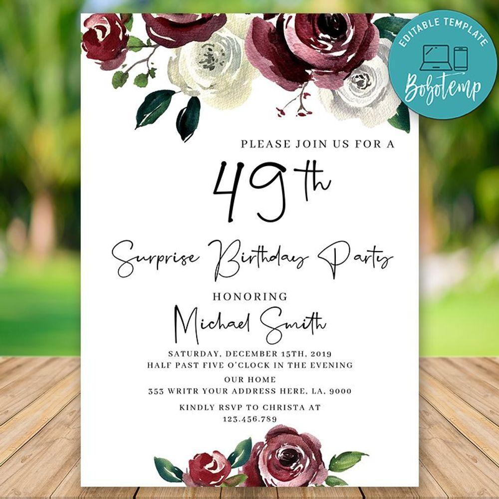Editable Surprise 49th Women Birthday Invitation Instant