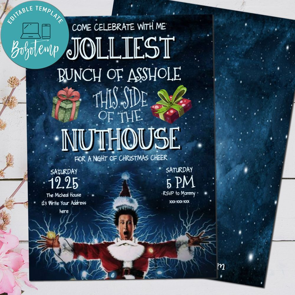 Editable Clark Griswold Сhristmas Vacation Party Invitation Digital File