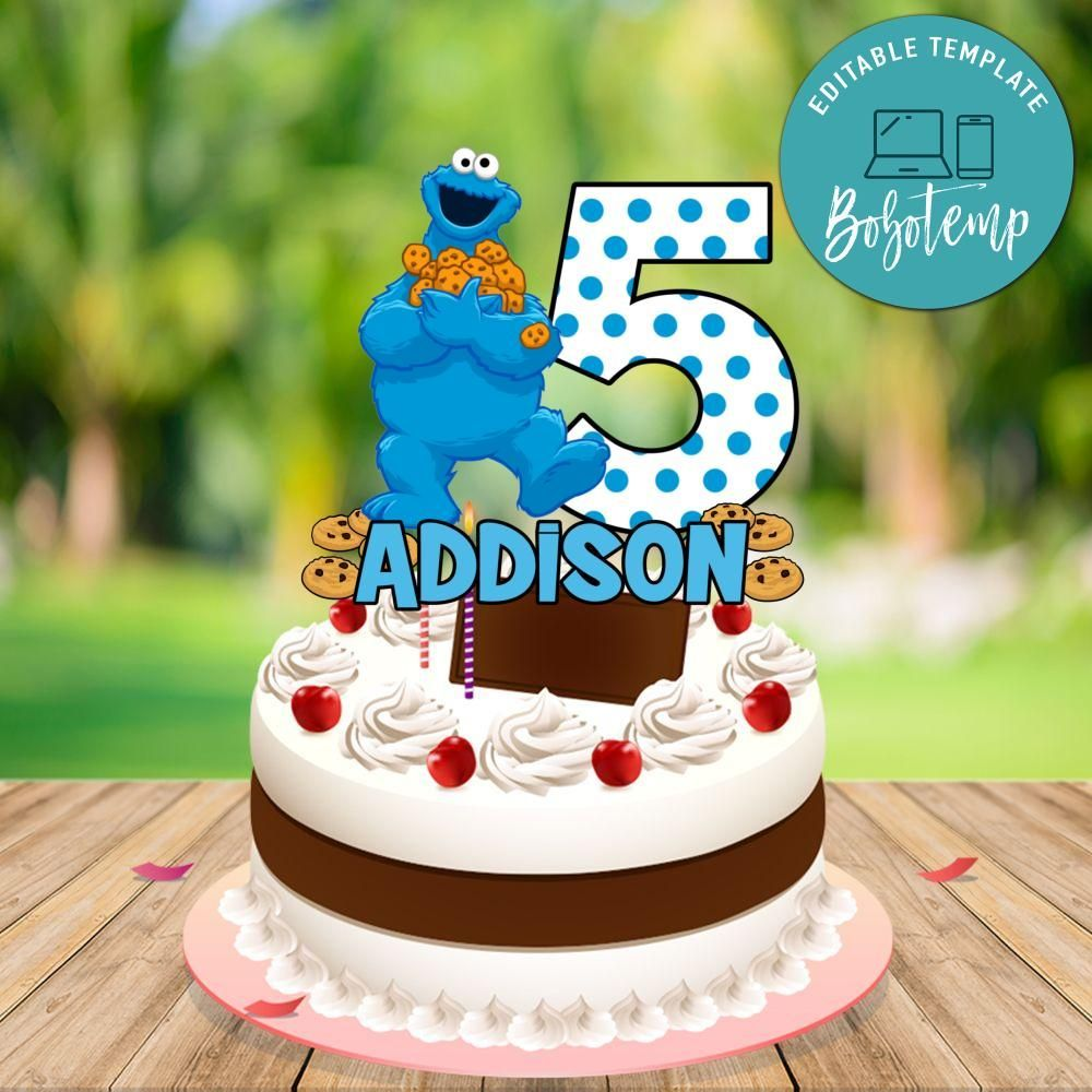 Cookie Monster Birthday Cake Topper Template Printable DIY ...
