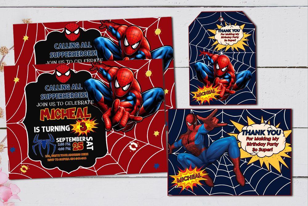 Cute Superhero Spiderman Birthday Decorations Set Template Printable