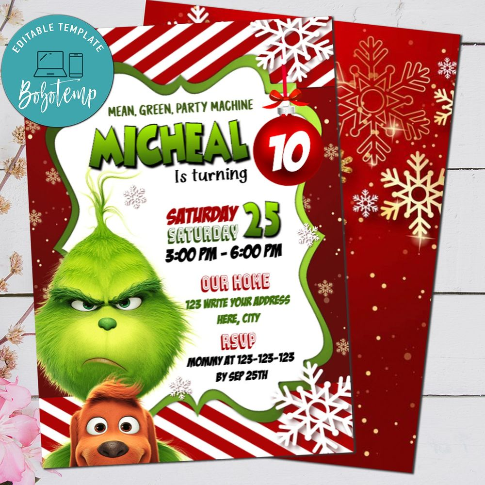 The Grinch Party Invitation - The Grinch Christmas Invitation Printable