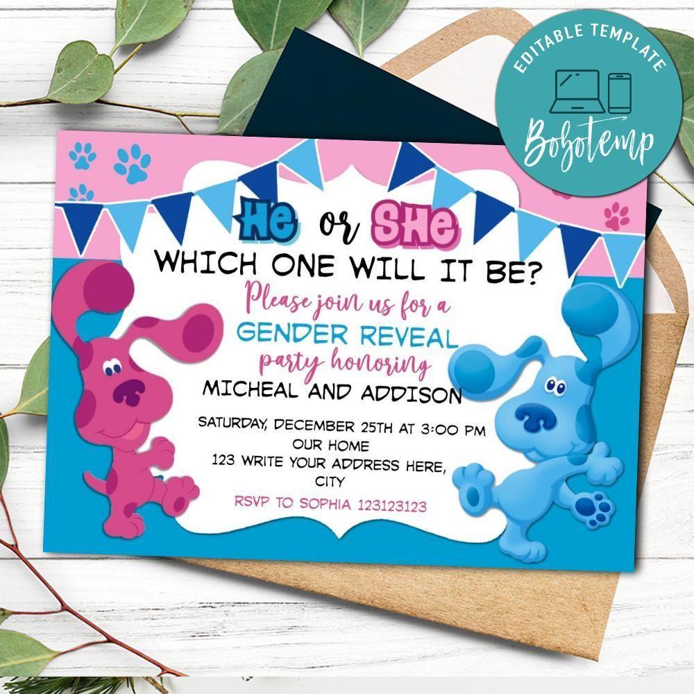 Blues Clues Gender Reveal Invitation Printable Instant Download Bobotemp