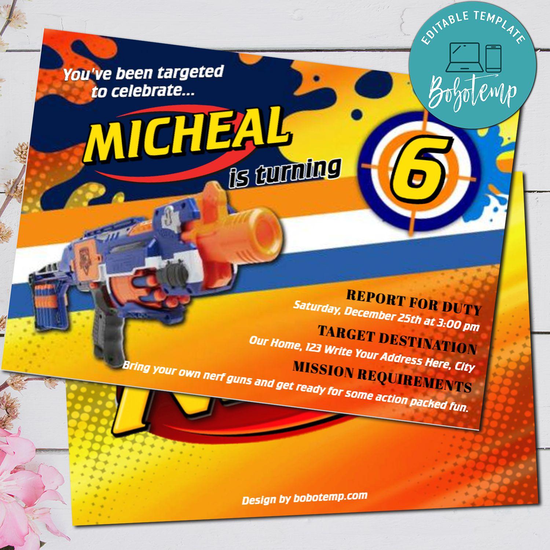 Editable Nerf Gun Dart Gun Birthday Party Invitation Diy Bobotemp