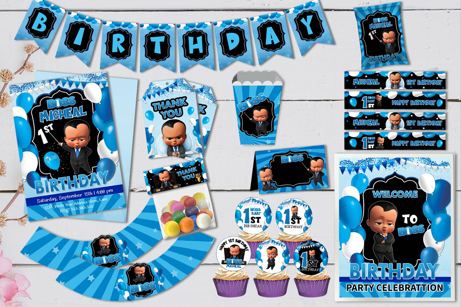 African American Boss Baby Birthday Party Set Template Bobotemp