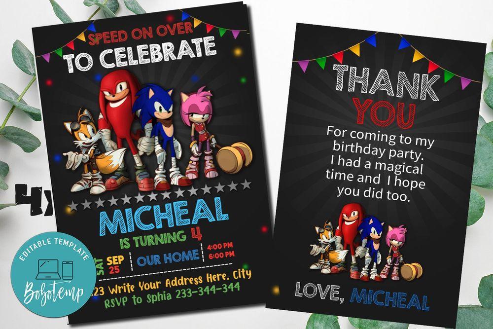 Sonic Party Birthday Invitation Editable Template