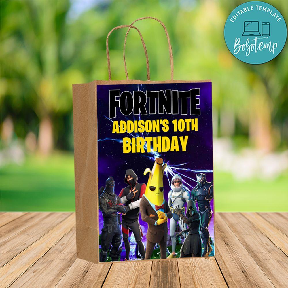 custom fortnite season banana gift bag label to print at