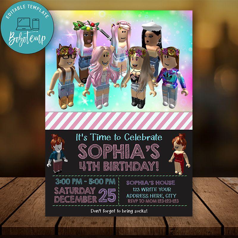 Roblox Birthday Card Editable Girl Roblox Birthday Invitation Instant Download Bobotemp