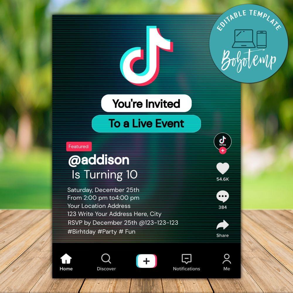 printable tik tok teen birthday invitation instant