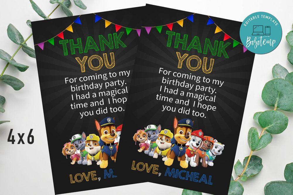 Paw Patrol Invitation, Paw Patrol Party Invitation And Free Paw Patrol Thank You Card