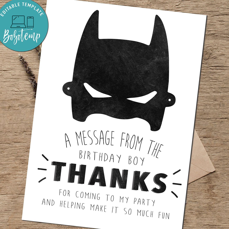 Editable Batman Birthday Thank You Card Instant Download Bobotemp