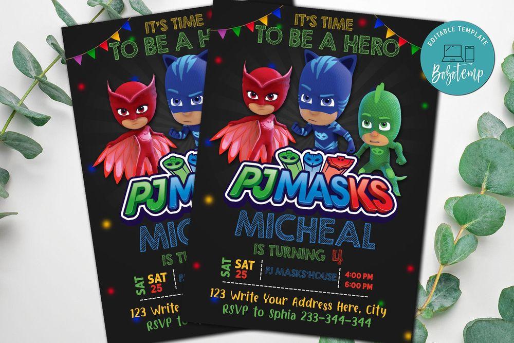 Pj Mask Party Invitation - Pj Mask Superheros Invitation