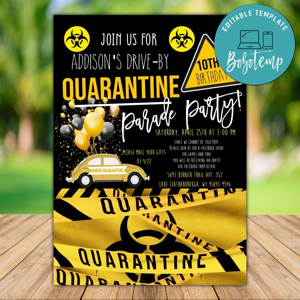 printable drive by quarantine birthday invite template diy