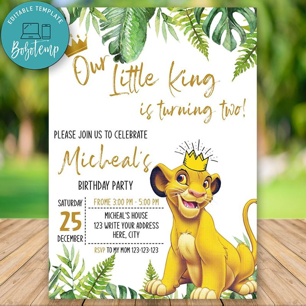 Editable Simba Lion King Party Invite Instant Download