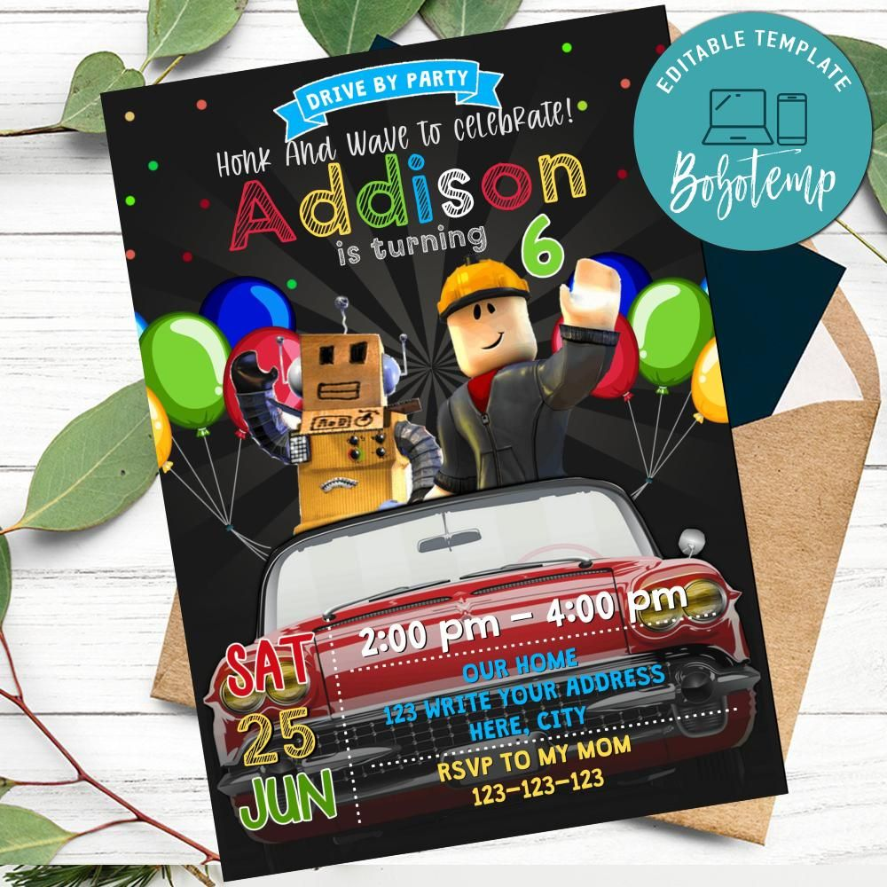 Roblox Banner Template Roblox Free Login And Password Roblox Drive By Birthday Parade Invitation Printable Diy Bobotemp