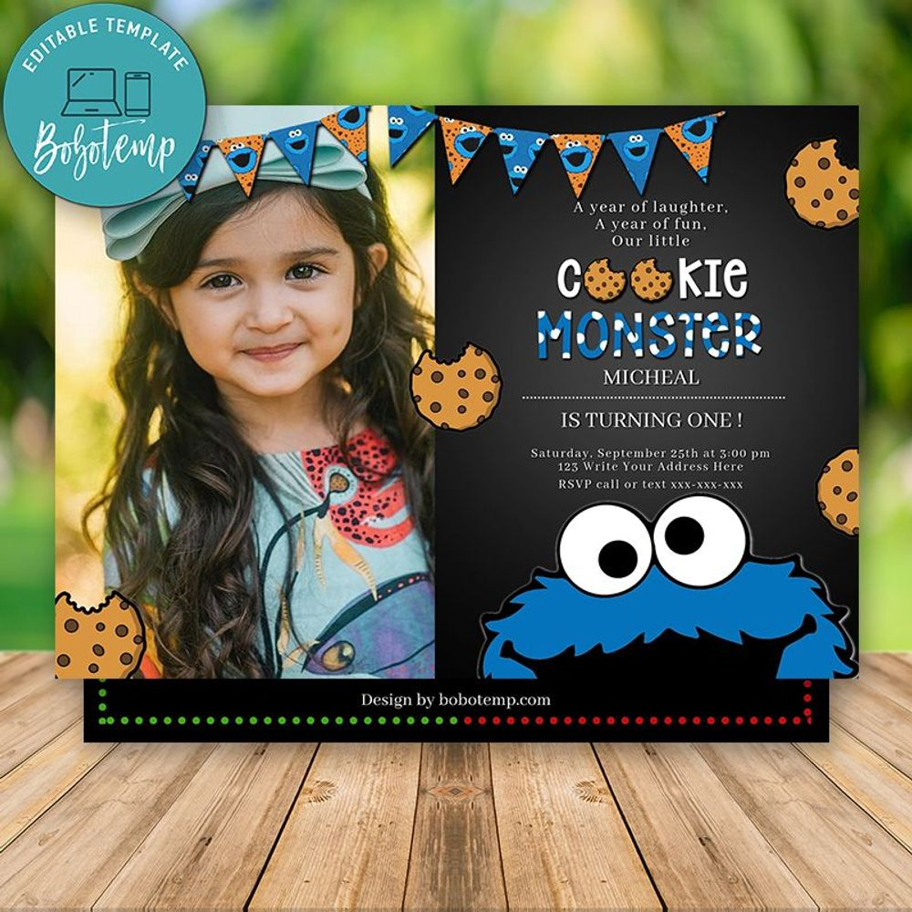 Editable Cookie Monster Invitation First Birthday With ...