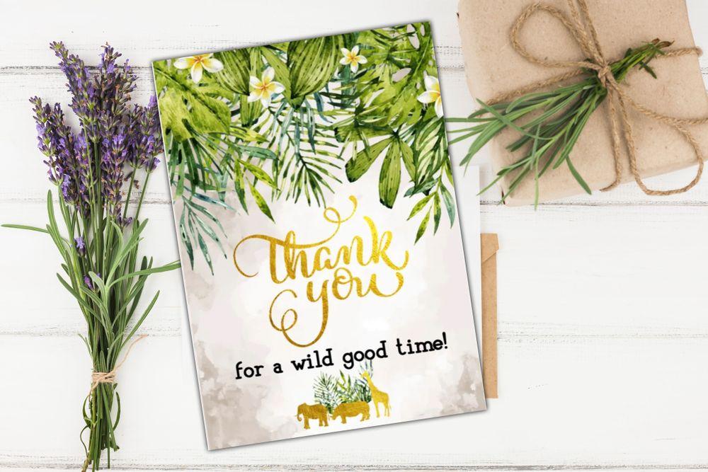 Gold Safari Baby Shower Thank You Card template DIY | Bobotemp